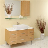 Fresca Distante Natural Wood Modern Bathroom Vanity with Mirror & Side Cabinet FVN6123NW
