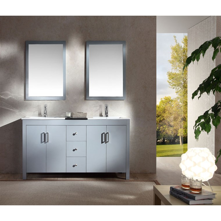 "Ariel Hanson 60"" Double Sink Vanity Set with Black Granite Countertop - Grey K060D-GRY"