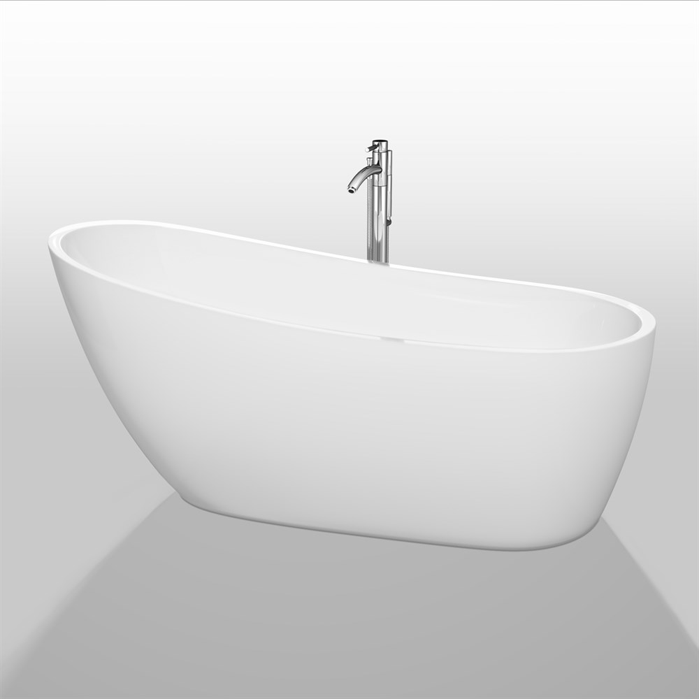 "Florence 68"" Soaking Bathtub by Wyndham Collection - White WC-BTO859-68"