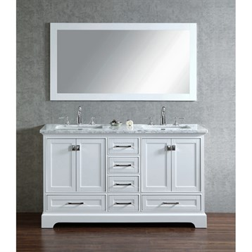 Stufurhome Newport White 60 Quot Double Sink Bathroom Vanity With Mirror White Free Shipping