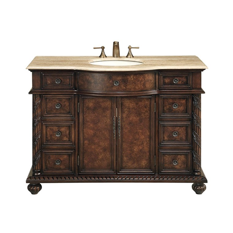 "Stufurhome 48"" Amelia Single Sink Vanity with Travertine Marble Top - Dark Brown GM-5116-48-TR"