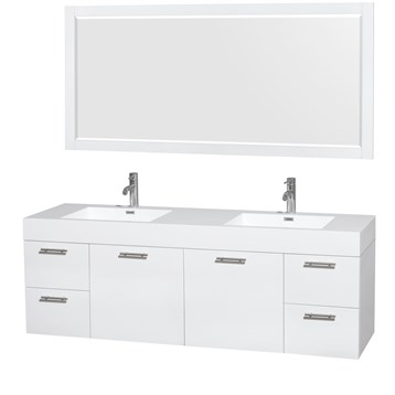 """Amare 72"""" Wall-Mounted Double Bathroom Vanity Set with Integrated Sinks by Wyndham Collection, Glossy White... by Wyndham Collection®"""