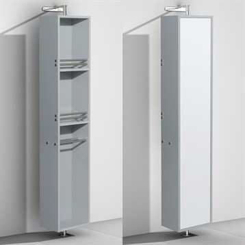 Amare Rotating Floor Cabinet with Mirror by Wyndham Collection, Dove Gray WC-RYV202-DVG by Wyndham Collection®