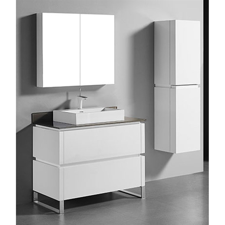 "Madeli Metro 42"" Bathroom Vanity for Glass Counter and Porcelain Basin - Glossy White B600-42-001-GW-GLASS"