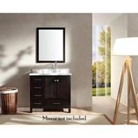 "Ariel Cambridge 37"" Single Sink Vanity with Right Offset Sink and Carrara White Marble Countertop - Espresso A037S-R-VO-ESP"
