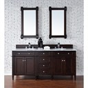 "James Martin 72"" Brittany Double Cabinet Vanity - Burnished Mahogany 650-V72-BNM"