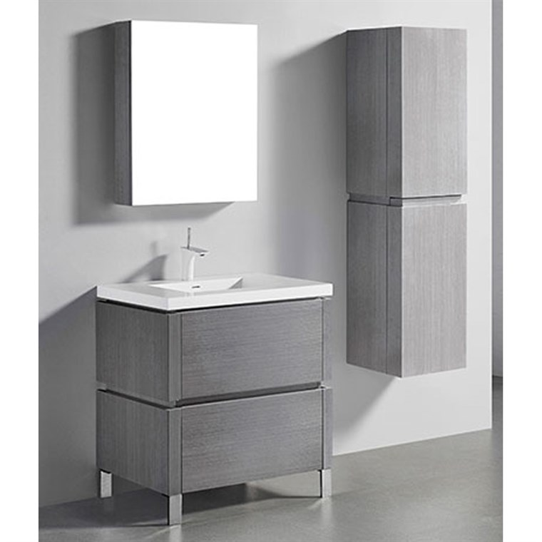 "Madeli Metro 30"" Bathroom Vanity for Integrated Basin - Ash Grey B600-30-001-AG"