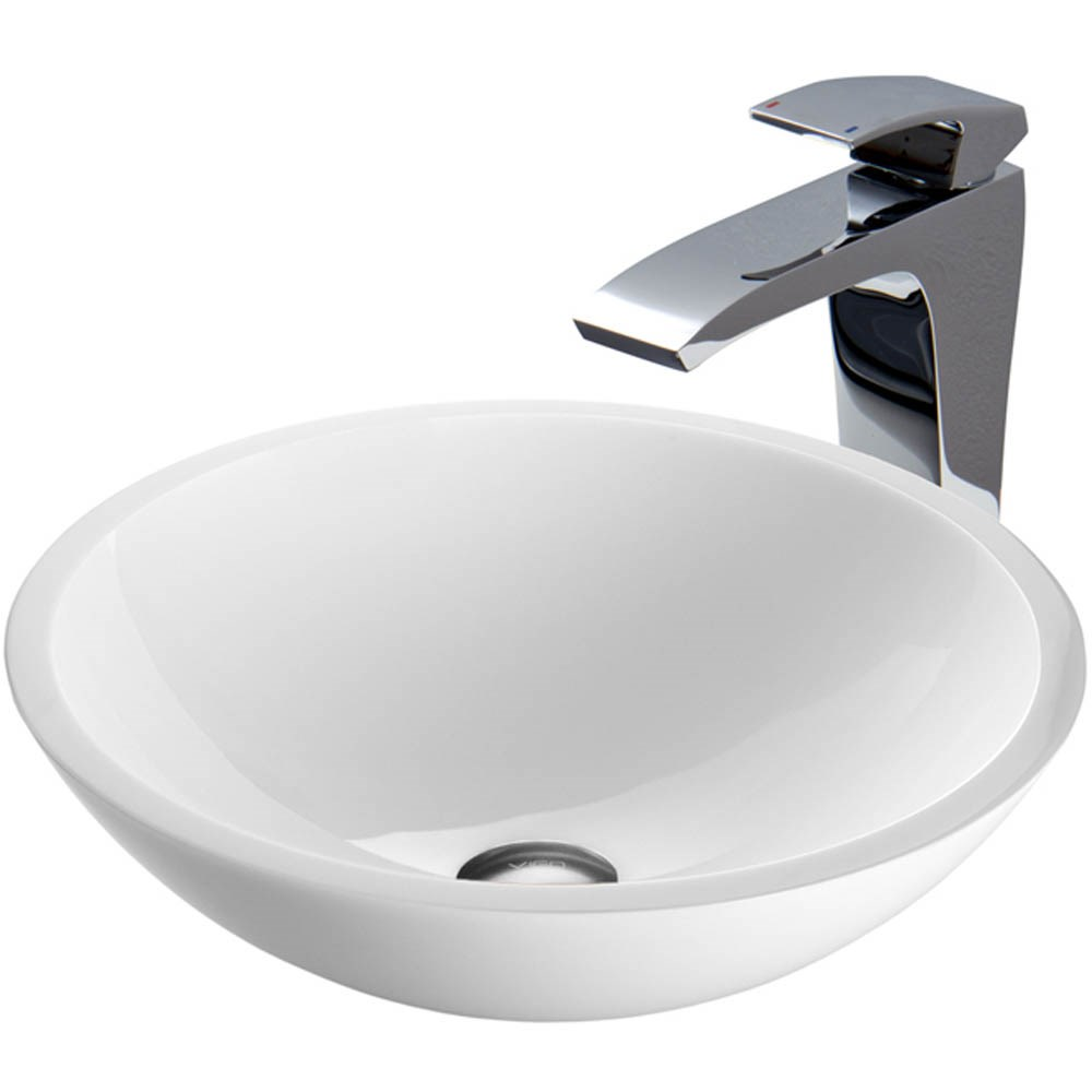 VIGO Flat Edged White Phoenix Stone Vessel Sink and Blackstonian Faucet Setnohtin Sale $255.90 SKU: VGT352- :