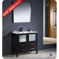 "Fresca Torino 36"" Espresso Modern Bathroom Vanity with Integrated Sink and Mirror FVN6236ES-UNS"