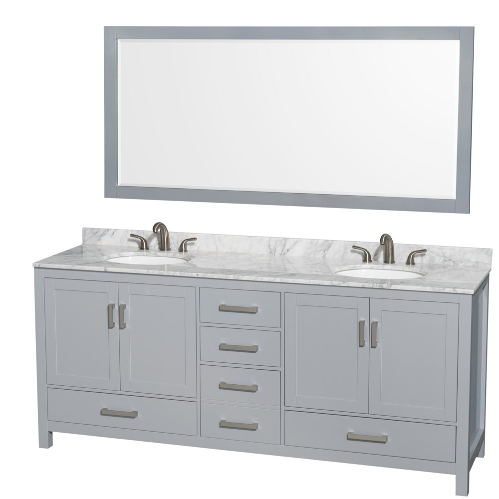 "Sheffield 80"" Double Bathroom Vanity by Wyndham Collection - Gray WC-1414-80-DBL-VAN-GRY"