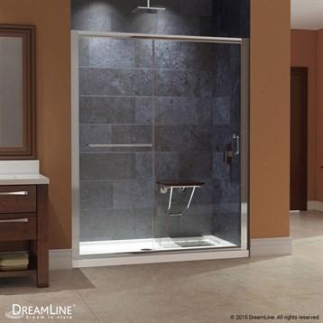 """Bath Authority DreamLine Infinity-Z Frameless Sliding Shower Door and SlimLine Single Threshold Shower Base, 34"""" by... by Bath Authority DreamLine"""