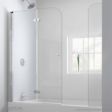 "Bath Authority DreamLine AquaFold Hinged Tub Door, 56""-60"" with Extender Panel, Chrome Finish Hardware... by Bath Authority DreamLine"
