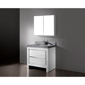 "Madeli Vicenza 36"" Bathroom Vanity with Quartzstone Top, Glossy White B999-36-001-GW-QUARTZ by Madeli"