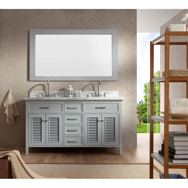 "Ariel Kensington 61"" Double Sink Vanity Set with Carrera White Marble Countertop - Grey D061D-GRY"