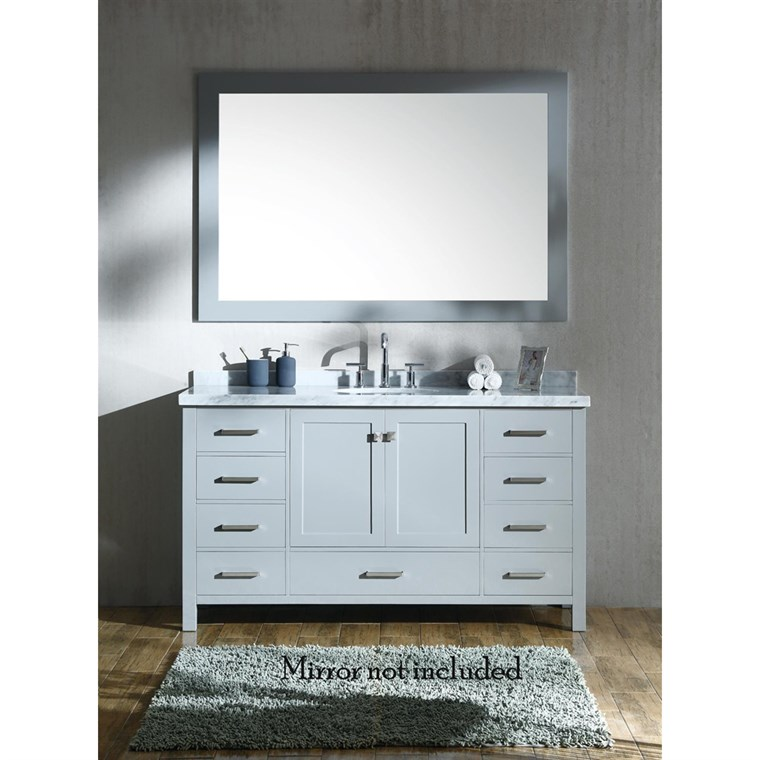 "Ariel Cambridge 61"" Single Sink Vanity with Carrara White Marble Countertop - Grey A061S-VO-GRY"