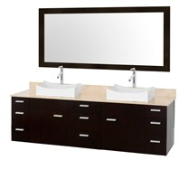 "Encore 78"" Double Bathroom Vanity Set - Espresso with Ivory Marble Counter and Vessel Sinks CG4000-78-ESP-OM-IVO"