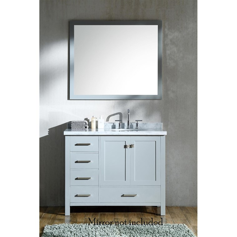 "Ariel Cambridge 43"" Single Sink Vanity with Right Offset Sink and Carrara White Marble Countertop - Grey A043S-R-VO-GRY"