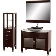 "Daytona 42"" Bathroom Vanity Set - Espresso Finish A-W2109T-42-ESP-WHTCAR-SET"