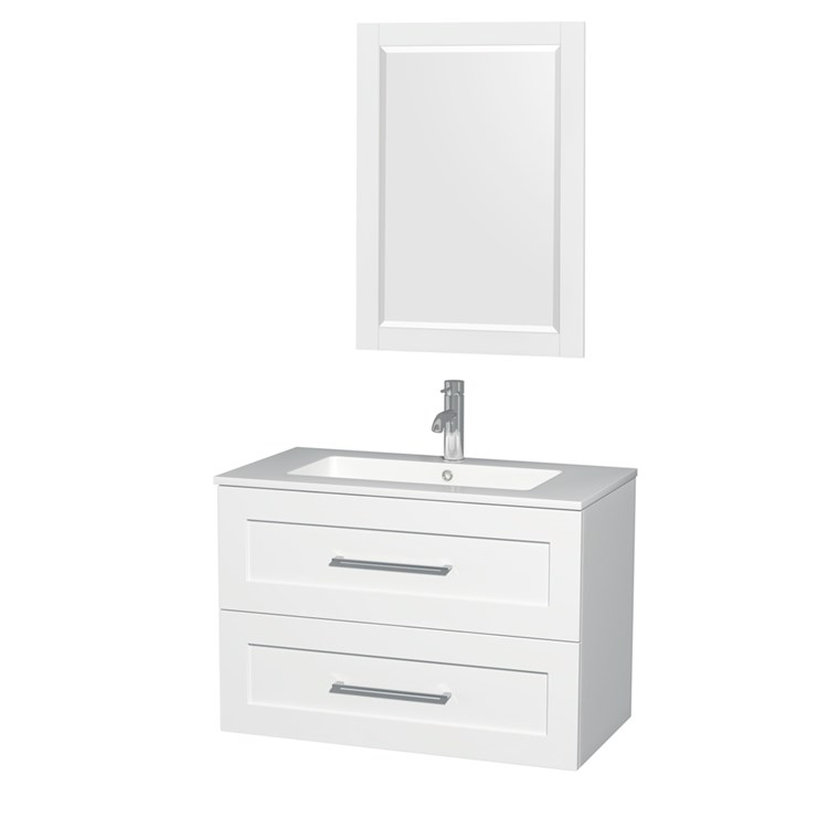 "Olivia 36"" Wall-Mounted Bathroom Vanity Set With Integrated Sink by Wyndham Collection - Glossy White WC-R4500-36-VAN-WHT"