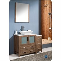 "Fresca Torino 42"" Walnut Brown Modern Bathroom Vanity with Side Cabinet, Vessel Sink, and Mirror FVN62-3012WB-VSL"
