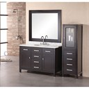 "Design Element London 48"" Bathroom Vanity with White Carrera Countertop, Porcelain Sink and Mirror - Espresso DEC076C"