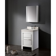 "Madeli Vicenza 24"" Bathroom Vanity with Quartzstone Top - Glossy White B999-24-001-GW-QUARTZ"