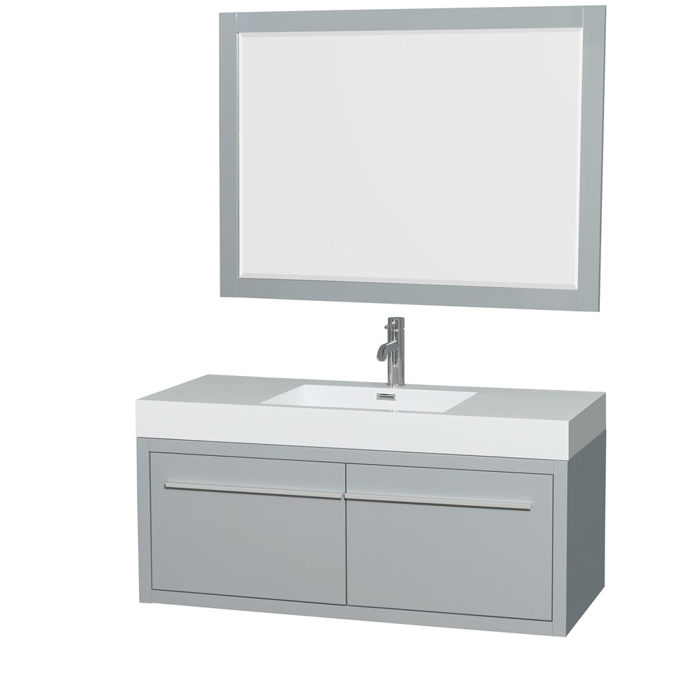 "Axa 48"" Wall-Mounted Bathroom Vanity Set With Integrated Sink by Wyndham Collection - Dove Graynohtin Sale $1199.00 SKU: WC-R4300-48-VAN-DVG :"