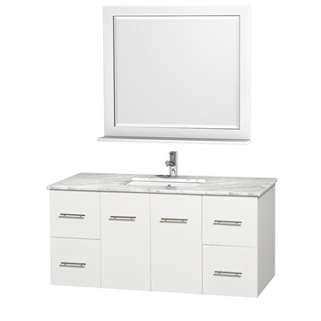 "Centra 48"" Single Bathroom Vanity for Undermount Sinks by Wyndham Collection, Matte White WC-WHE009-48-SGL-VAN-WHT- by Wyndham Collection®"