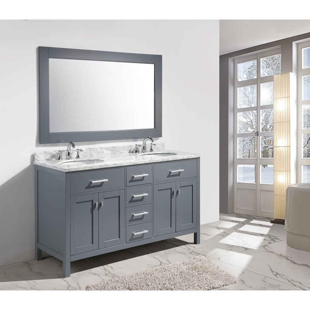 "Design Element London 61"" Double Sink Vanity Set - Gray DEC076A-G"