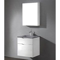 "Madeli Bolano 24"" Bathroom Vanity for Quartzstone Top - Glossy White B100-24-022-GW-QUARTZ"