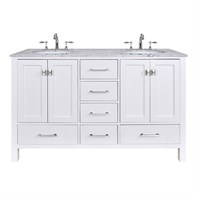 "Stufurhome 60"" Lissa Double Sink Bathroom Vanity - Pure White GM-6412-60-WHT"