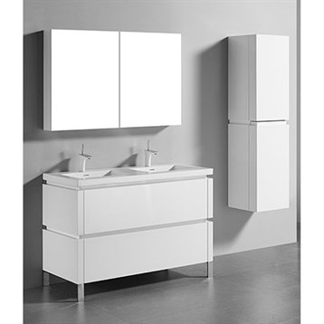 "Madeli Metro 48"" Double Bathroom Vanity for Integrated Basin, Glossy White B600-48D-001-GW by Madeli"