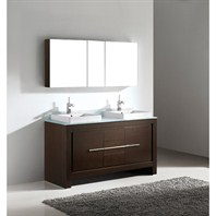 "Madeli Vicenza 60"" Double Bathroom Vanity - Walnut Vicenza-60-WA"