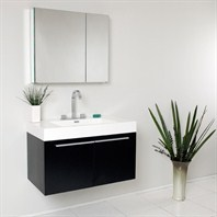 Fresca Vista Black Modern Bathroom Vanity with Medicine Cabinet FVN8090BW
