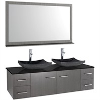 "Bianca 60"" Wall-Mounted Double Bathroom Vanity - Grey Oak Finish with Black Granite Countertop WHE007-60-GROAK-BLK-"