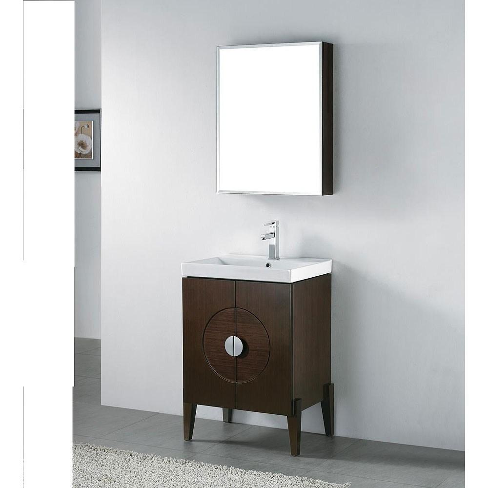"Madeli Genova 24"" Bathroom Vanity with Integrated Basin - Walnutnohtin"