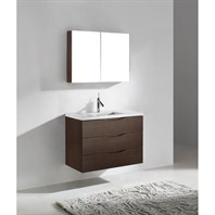 "Madeli Bolano 36"" Bathroom Vanity with Quartzstone Top - Walnut B100-36-002-WA-QUARTZ"