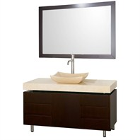"Malibu 48"" Bathroom Vanity Set by Wyndham Collection - Espresso Finish with Ivory Marble Counter WC-CG3000-48-ESP-IVO"