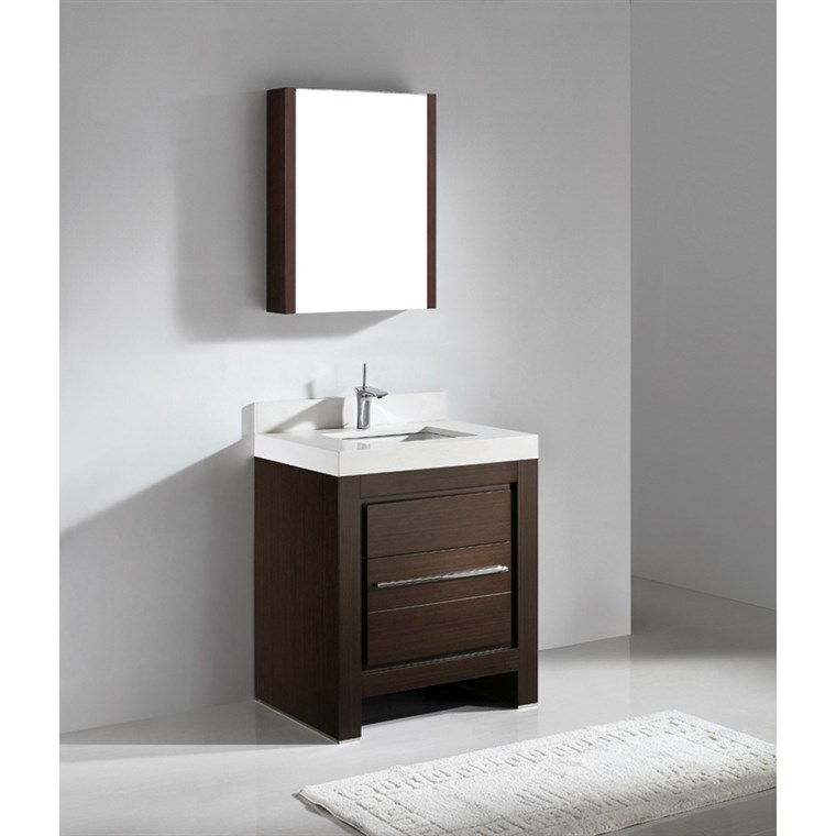 "Madeli Vicenza 30"" Bathroom Vanity with Quartzstone Top - Walnut B999-30-001-WA-QUARTZ"