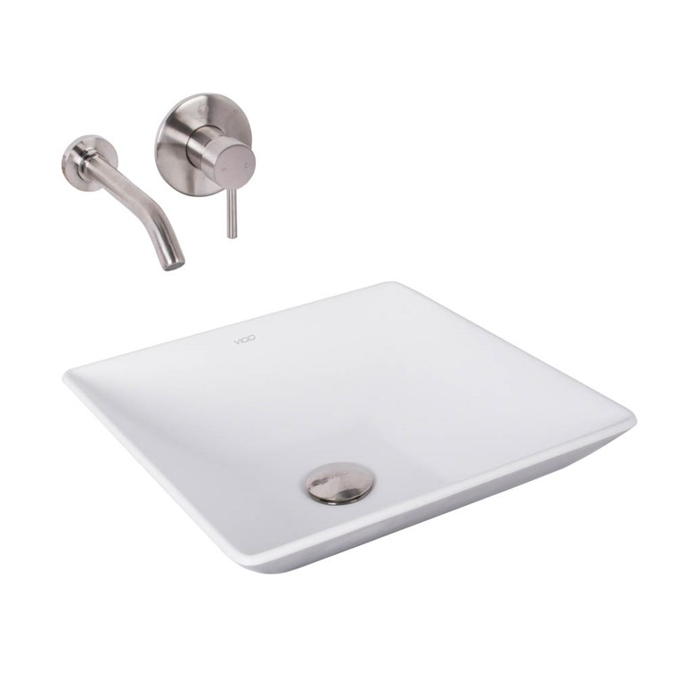 VIGO Matira Matte Stone Vessel Sink and Olus Brushed Nickel Finish Single Lever Wall Mount Faucet VGT1021