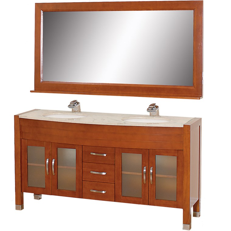 "Daytona 63"" Double Bathroom Vanity Set by Wyndham Collection - Cherry w/ Drawers WC-A-W2200-63-CH-"