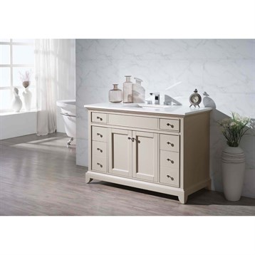 "Stufurhome Erin 49"" Single Sink Bathroom Vanity with White Quartz Top, Beige HD-6004-49-QZ by Stufurhome"