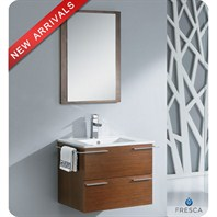 "Fresca Cielo 24"" Wenge Brown Modern Bathroom Vanity with Mirror FVN8114WG"