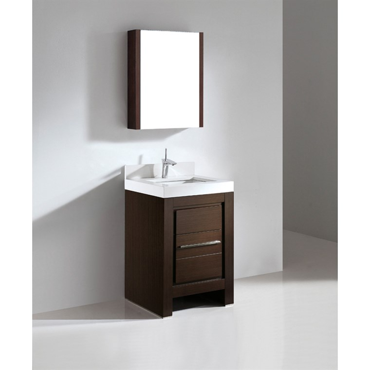 "Madeli Vicenza 24"" Bathroom Vanity with Quartzstone Top - Walnut B999-24-001-WA-QUARTZ"