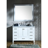 "Ariel Cambridge 49"" Single Sink Vanity with Rectangle Sink and Carrara White Marble Countertop - White A049SCWRVOWHT"