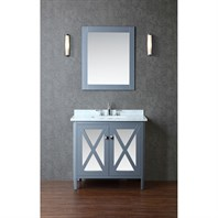 "Seacliff by Ariel Summit 36"" Single Sink Vanity Set with Carrera White Marble Countertop - Grey SCSUM36SWG"