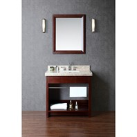 "Seacliff by Ariel Seabrook 36"" Single Sink Vanity Set with Classic Creme Marble Countertop - Walnut SC-SEA-36-SWA"