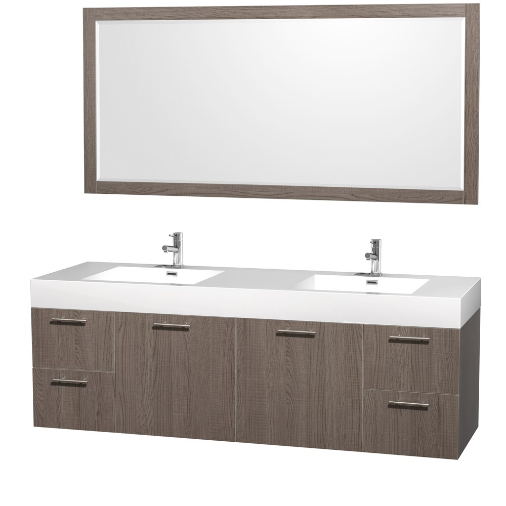 "Amare 72"" Wall-Mounted Double Bathroom Vanity Set with Integrated Sinks by Wyndham Collection - Gray Oaknohtin Sale $1499.00 SKU: WC-R4100-72-VAN-GRO-DBL- :"