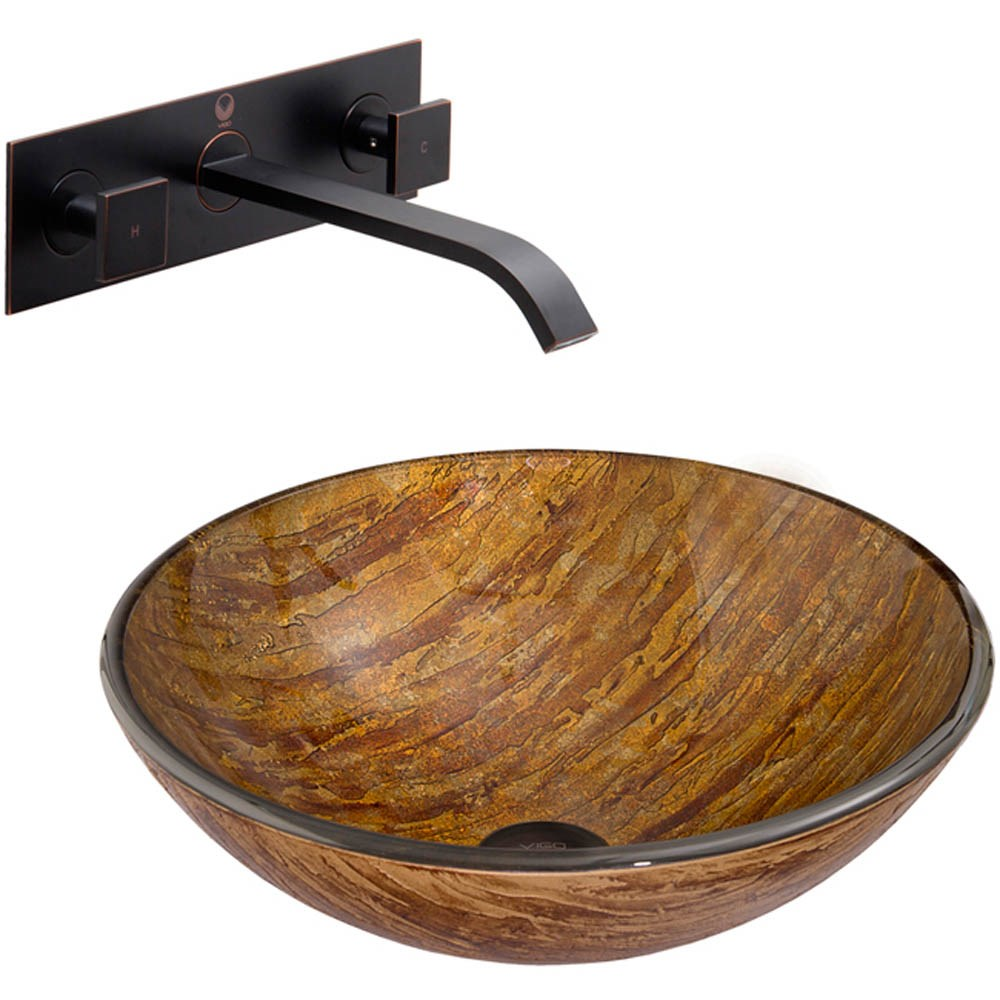 Vigo Amber Sunset Glass Vessel Sink And Titus Wall Mount Faucet Set In Antique Rubbed Bronze