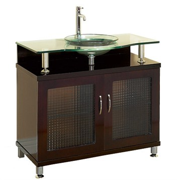 Charlton 36 Bathroom Vanity Doors Only Espresso W Clear Or Frosted Glass Countertop Free